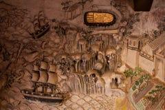 MuralPlaster carvingsBuddha脚印 免版税库存照片