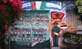 Murals of Balmy Alley, San Francisco, California, USA. Mexican murals paintings of Balmy Alley, street art of San Francisco, California, USA royalty free stock photo