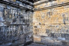 Murals in Borobudur Temple on Java island Stock Photography