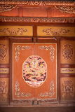 Murals of Dunhuang Folk Museum show on residential buildings Stock Photos