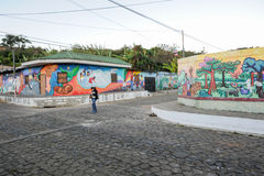 Murals on homes at Conception de Ataco in El Salvador Royalty Free Stock Photography