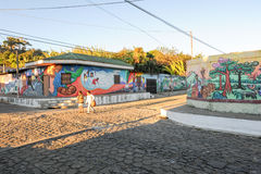 Murals on homes at Conception de Ataco in El Salvador Royalty Free Stock Photo