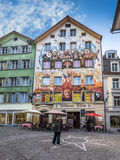 Murals on houses at Sternenplatz, Lucerne Switzerland Royalty Free Stock Photos
