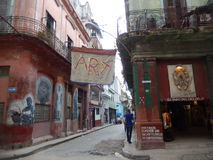 MURAL IN A STREET IN OLD HAVANA, CUBA stock photography