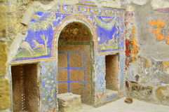 Murals. A Mural on the wall of a ruined house in Herculaneum stock photography