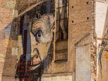 Murals on the old buildings of Cartagena, Spain stock images