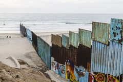Murals Painted on International Border Wall in Tijuana, Mexico stock image