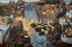 Murals Ramayana. In Buddhist temples at Thailand Royalty Free Stock Photography