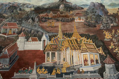 Murals Ramayana. In Buddhist temples at Thailand Stock Photography