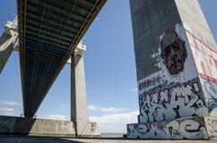 Vasco de Gama Bridge. The murals of the Vasco de Gama Bridge royalty free stock images