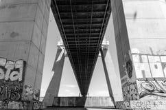 Vasco de Gama Bridge. The murals of the Vasco de Gama Bridge stock photo