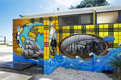 Murals on the Waipu toilets, Northland, New Zealand Royalty Free Stock Photography