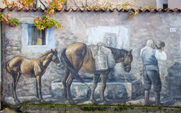 Murals wall painting in Fonni, Sardinia, Italy Stock Photos