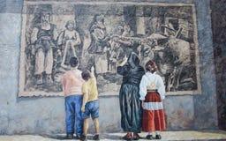Murals wall painting in Fonni, Sardinia, Italy Royalty Free Stock Photo