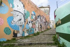 Murals on the streets in Lisbon royalty free stock photo