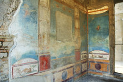 Murals on the walls in Pompeii Royalty Free Stock Photo