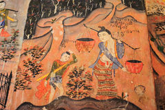 Murals at Wat Phumin. (a woman and a child). Well preserved murals of great value illustrating the Khattana Kumara Jataka on the Northern wall and the Nimi Royalty Free Stock Images