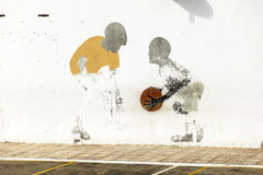 Murals at a white wall Royalty Free Stock Image