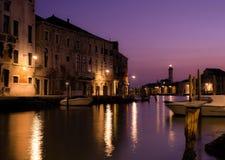 Murano海岛在夜之前 免版税库存照片