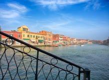 Murano海岛,在威尼斯Venezia地区里面的一个小海岛看法,著名为它的玻璃生产 意大利 免版税库存照片