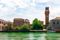 Murano ön av exponeringsglas i Venedig arkivfoto
