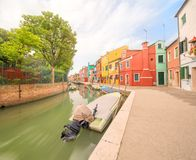 Murano and Burano island, street with glass store Stock Photos