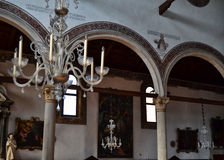 Murano Glass Chandeliers in a Church Royalty Free Stock Images