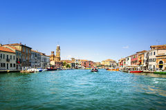 Murano glass making island, water canal and buildings. Venice, I Stock Photography