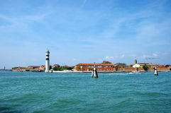 Murano island white lighthouse, Venice, Italy Stock Photography