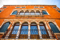 MURANO, ITALY - AUGUST 19, 2016: Famous architectural monuments and colorful facades of old medieval buildings close-up. On August 19, 2016 in Murano, Italy Stock Photography
