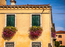 MURANO, ITALY - AUGUST 19, 2016: Famous architectural monuments and colorful facades of old medieval buildings close-up Stock Photography