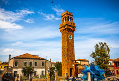 MURANO, ITALY - AUGUST 19, 2016: Famous architectural monuments and colorful facades of old medieval buildings close-up Royalty Free Stock Images