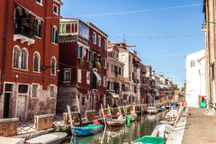 MURANO, ITALY - AUGUST 19, 2016: Famous architectural monuments and colorful facades of old medieval buildings close-up. On August 19, 2016 in Murano, Italy Royalty Free Stock Image