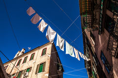 MURANO, ITALY - AUGUST 19, 2016: Famous architectural monuments and colorful facades of old medieval buildings close-up. On August 19, 2016 in Murano, Italy Royalty Free Stock Photo