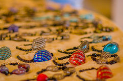 MURANO, ITALY - JUNE 16, 2015: Colorfull bracalet sale store at Murano, al the jewerly is handmade Stock Image