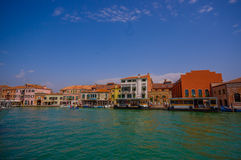 MURANO, ITALY - JUNE 16, 2015: Spectacular view of Murano city from the sea, traditional arquitecture Royalty Free Stock Photos