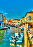 In Murano Italy. View of the Main Canal at Murano island near Venice Italy. HDR processed Royalty Free Stock Photos
