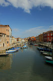 Murano in winter. A canal on the Venetian island of Murano, famous for its glass-making, in winter sunshine. Space for text in the sky Stock Images