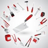 Muraremurslev - uppsättningen av röda konstruktionshjälpmedel - instrument Royaltyfri Fotografi