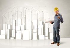 Muratore che spiana con le costruzioni 3d nel fondo Immagine Stock