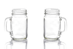 Muratore d'annata vuoto Jar su bianco Fotografia Stock Libera da Diritti