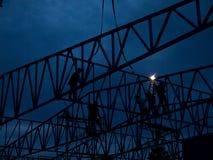 Muratore pesante del settore industriale della gente della siluetta Fotografia Stock