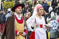 MURAVERA ITALIEN - April 2, 2017: 45th festival av citruns - Sardinia Arkivbilder