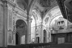 Murazzano (Cuneo): the church interior. Black and white photo Royalty Free Stock Photo