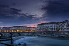 Murazzi1. River Po and royal palace in Turin Royalty Free Stock Images