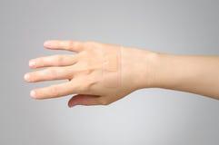 Murbruk på den kvinnliga handen Arkivbilder