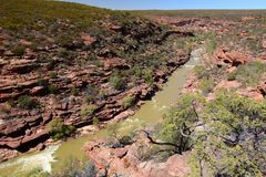 Murchison river view from the Z Bend lookout. Kalbarri National Park. Western Australia. Australia. Kalbarri National Park is located 485 km km north of Perth stock image