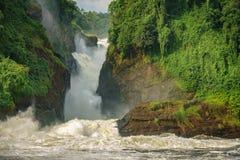 Murchison Falls in Uganda, closeup view of main fall Royalty Free Stock Image