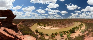 Murchison river panoramic photo from window`s nature lookout. Kalbarri National Park. Western Australia. Australia. Kalbarri National Park is located 485 km km royalty free stock image