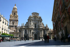 Murcia Cathedral. The Cathedral Church of Saint Mary in Murcia.  It is the only cathedral in use in the Roman Catholic Diocese of Cartagena in Spain Stock Image